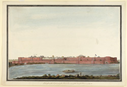 The Fort at Agra with the river and boat in the foreground.